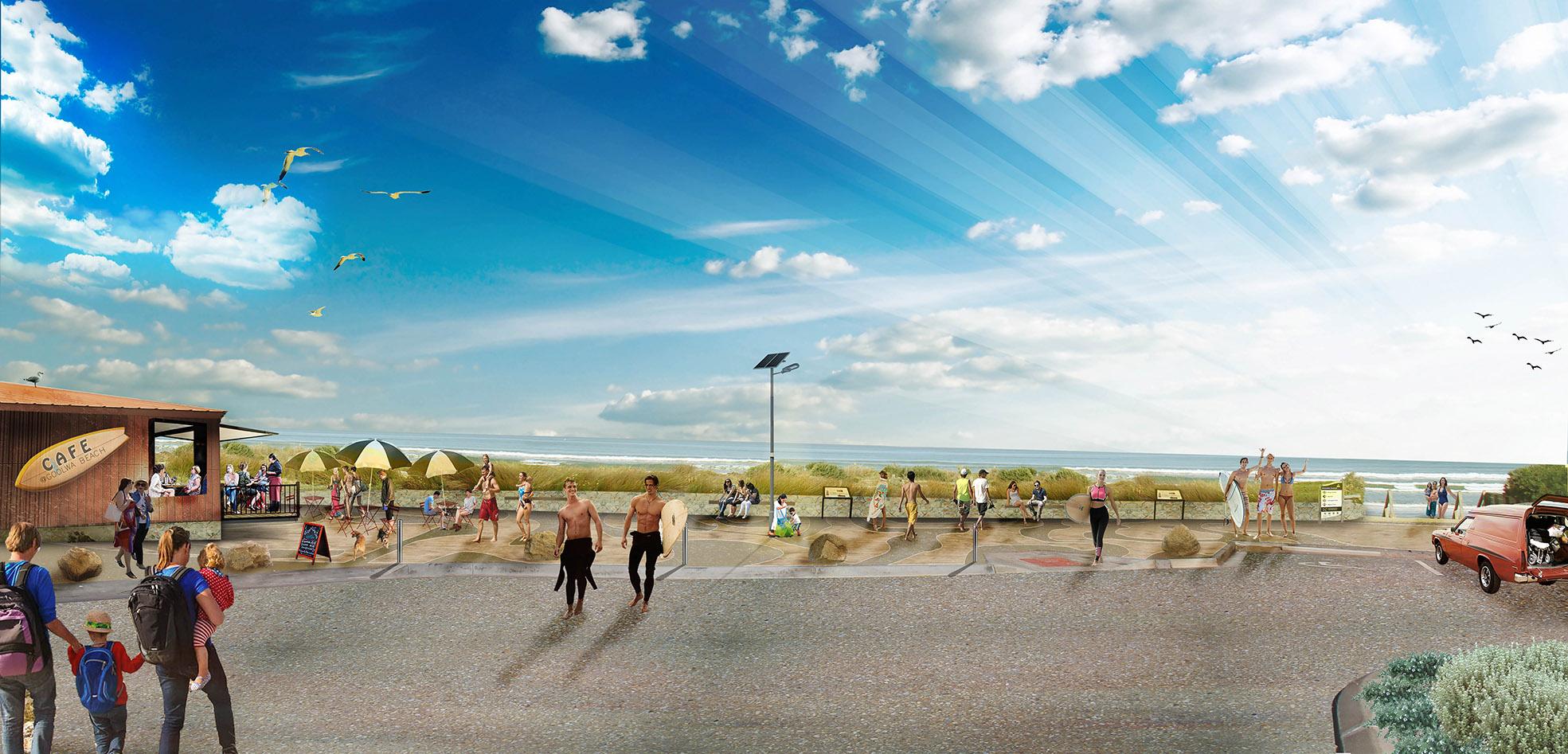Goolwa Beach carpark masterplan 3d render